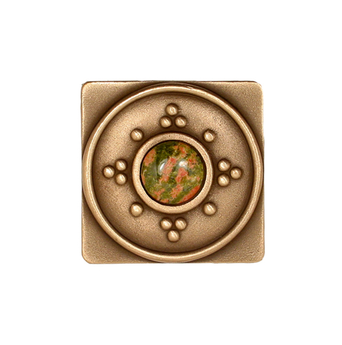 Square Bronze Tile with Dots and Jewel Options