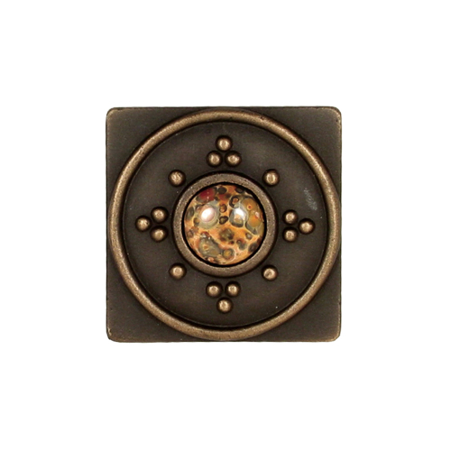 Square solid bronze decorative tile with jewel choices