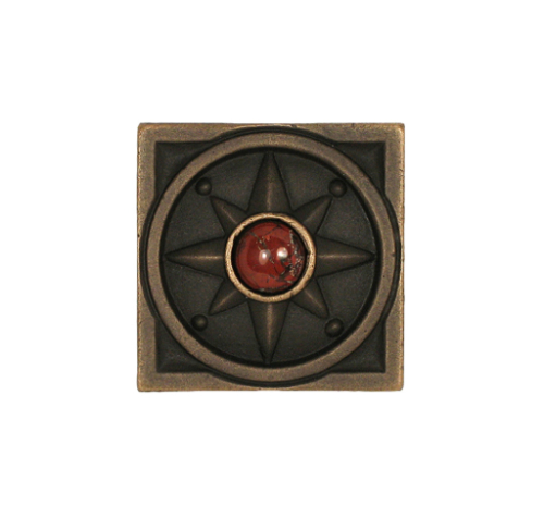 Dark Bronze Compass Rose with Gem Choice