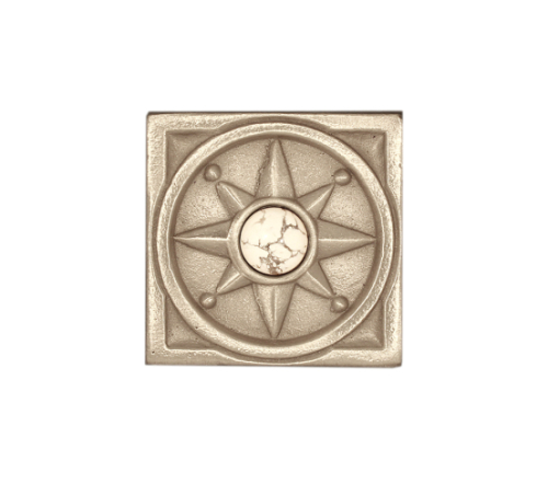 Compass Rose in bright silvertone bronze