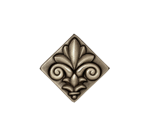 Silver antique Fleur-de-lis square tile in white bronze