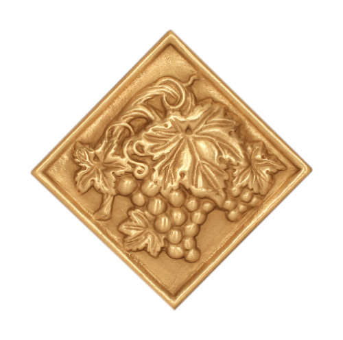 golden grape vines on decorative bronze tile
