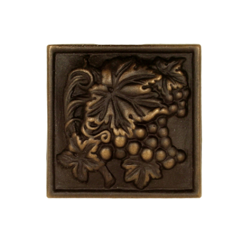 Antique grape vine square bronze tile