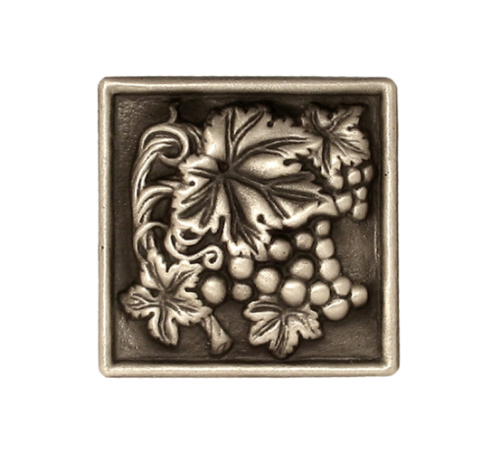 Silver solid bronze tile with decorative table grapes
