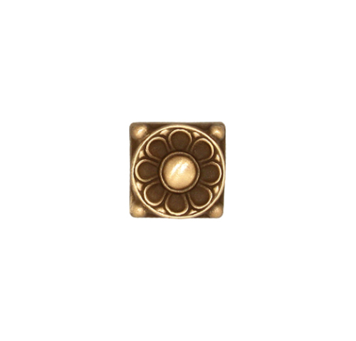 Small floral deco tile in bronze