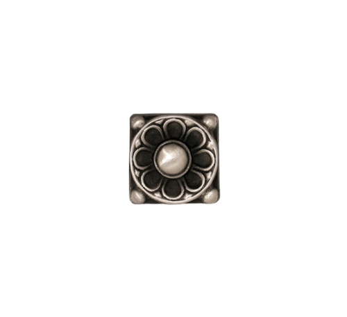 floral accent tile in solid white bronze