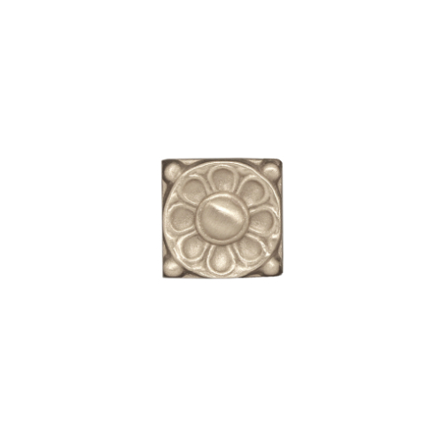 silver greek flower tile in solid white bronze