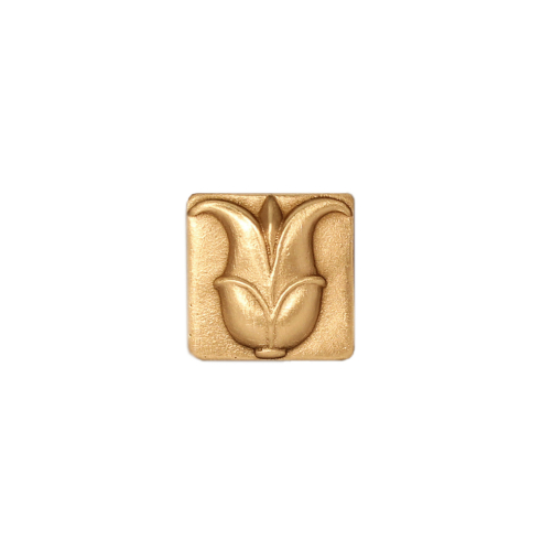 gold greek lotus flower tile in solid bronze